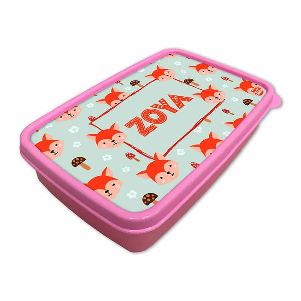 Personalized Snack Box for Kids Plastic Lunch Box for Girls -Mushroom & Cute Fox