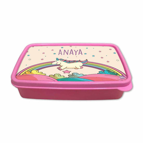 Personalized Snack Box for Kids Plastic Lunch Box for Girls -Rainbow