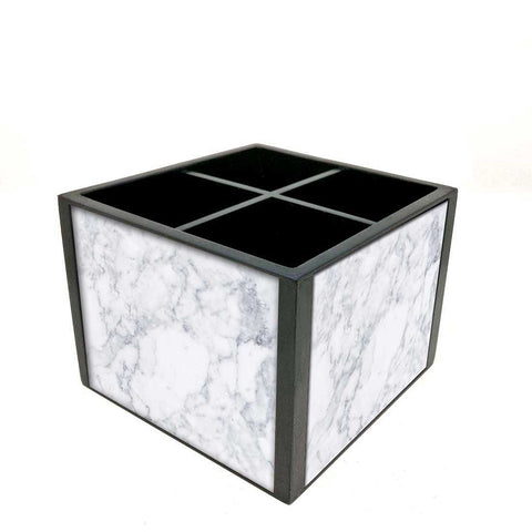 Desk Organizer For Stationery -  White Marble