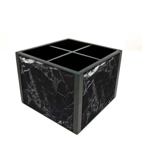 Desk Organizer For Stationery -  Black Marble