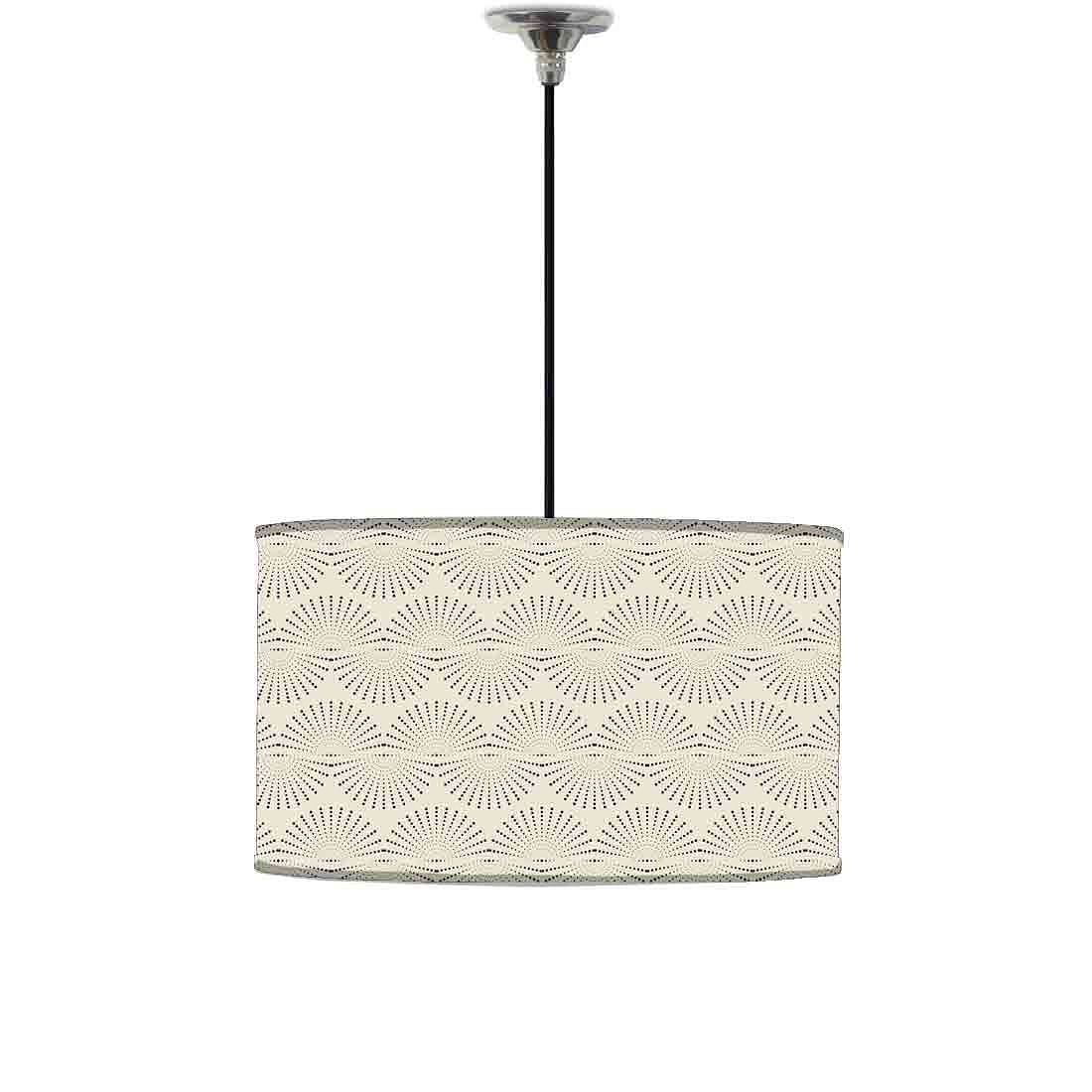 Ceiling Lamp Hanging Drum Lampshade - Grey Retro Pattern