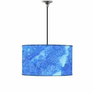 Ceiling Lamp Hanging Drum Lampshade - Arctic Space Dark Blue Watercolor