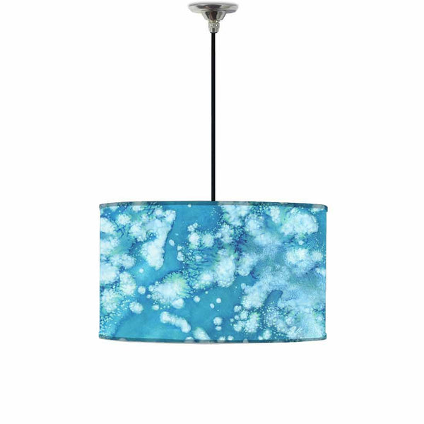 Ceiling Lamp Hanging Drum Lampshade - Arctic Space Light Blue Watercolor