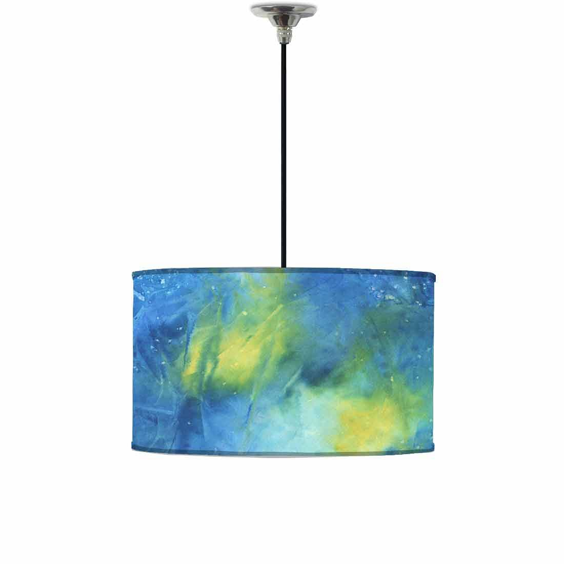 Ceiling Lamp Hanging Drum Lampshade - Arctic Space Dark Blue Green Watercolor