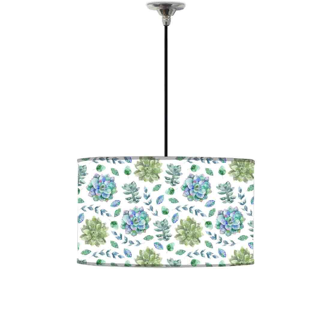 Ceiling Lamp Hanging Drum Lampshade - Green Flower