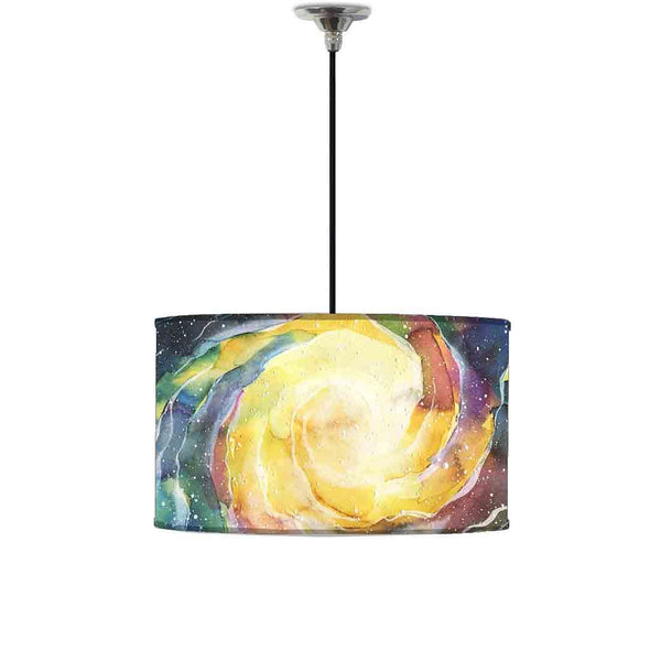 Ceiling Lamp Hanging Drum Lampshade - Space Yellow Watercolor
