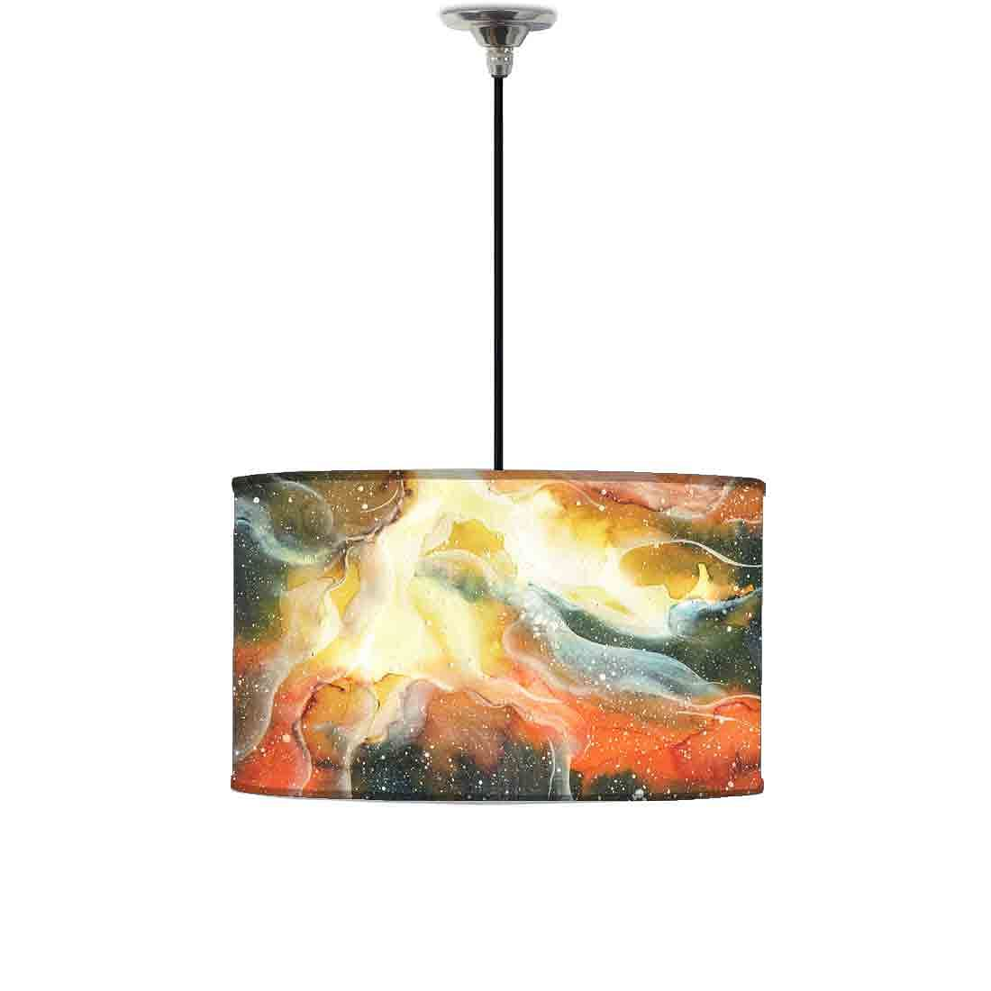 Ceiling Lamp Hanging Drum Lampshade - Yellow and Green Space Watercolor