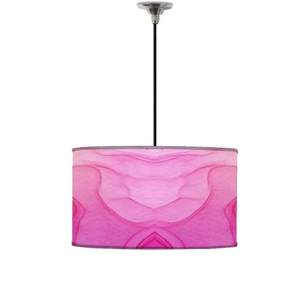 Ceiling Lamp Hanging Drum Lampshade - Pink White Ink Watercolor