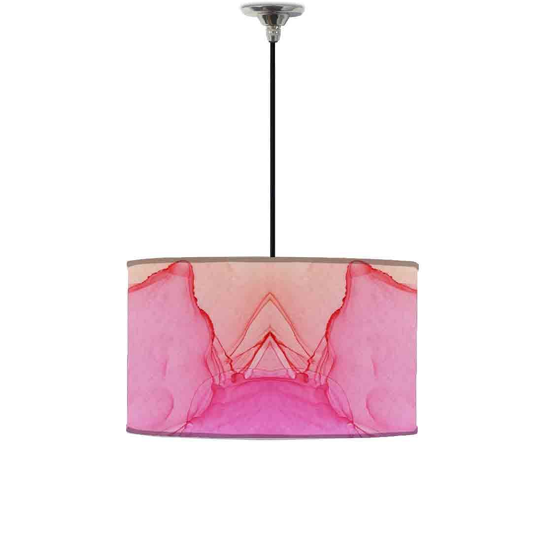 Ceiling Lamp Hanging Drum Lampshade - Pink Purple Yellow Ink Watercolor