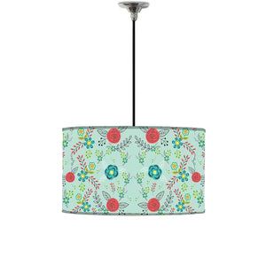 Ceiling Lamp Hanging Drum Lampshade - Floral Branches Spring Collection