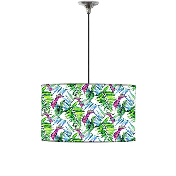 Ceiling Lamp Hanging Drum Lampshade - Green and Purple Tropical Leaf