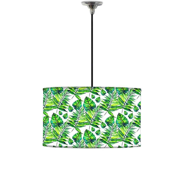 Ceiling Lamp Hanging Drum Lampshade - Dark Green Tropical Leaf