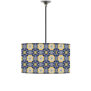 Ceiling Lamp Hanging Drum Lampshade - Floral Spanish Pattern