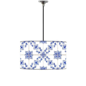 Ceiling Lamp Hanging Drum Lampshade - Pattern Spanish Tiles