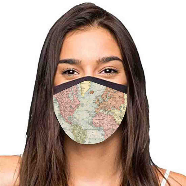Face Masks Reusable Washable Set Of 2 -Map