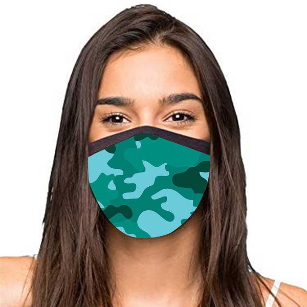 Face Masks Reusable Washable Set Of 2 -Sea_green_camo