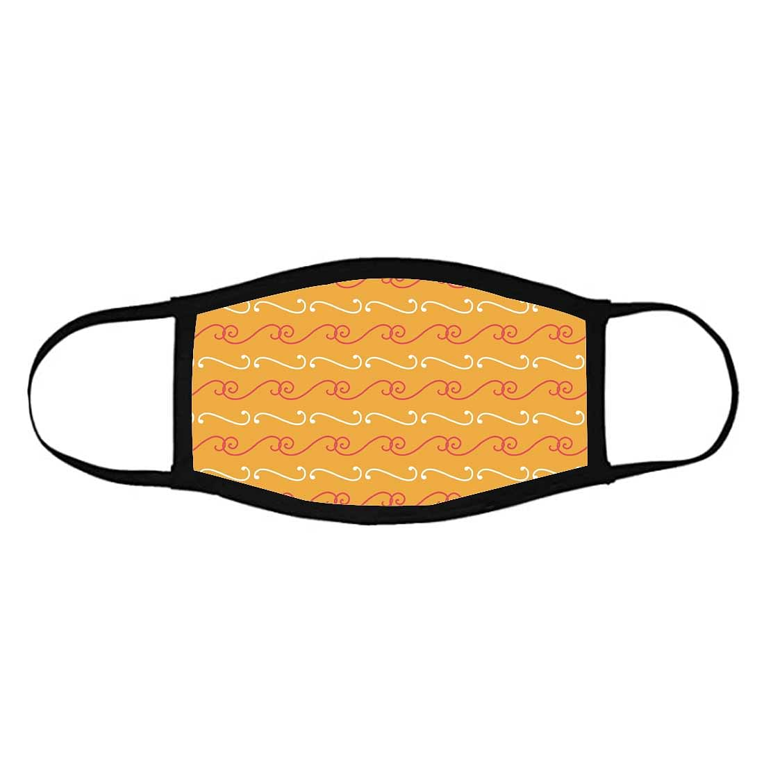 Face Mask -Set Of 2 Protective Masks -Orange Pattern