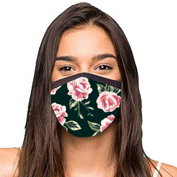 Face Masks Reusable Washable Set Of 2 -Black_floral