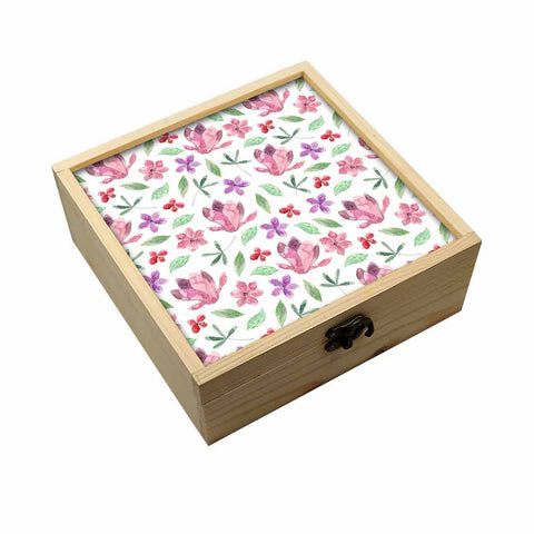 Jewellery Box Wooden Jewelry Organizer -  Pink Flower