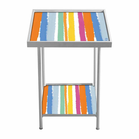 Outdoor Metal Patio Table -Colorful Stripes