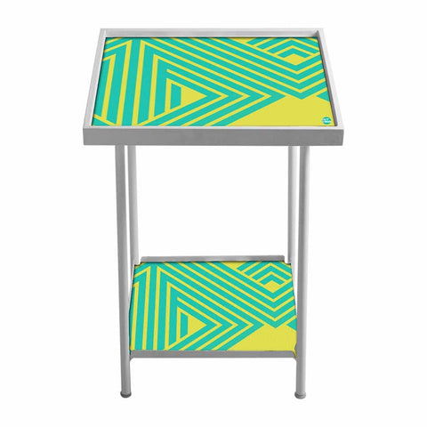 Outdoor Metal Patio Table For Balcony- Teal & Yellow