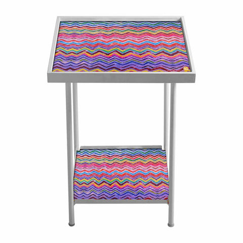 Outdoor Metal Patio Table For Balcony- Colorful Zigzag