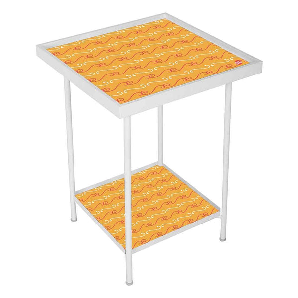 Outdoor Metal Patio Table -Ethnic Pattern Orange