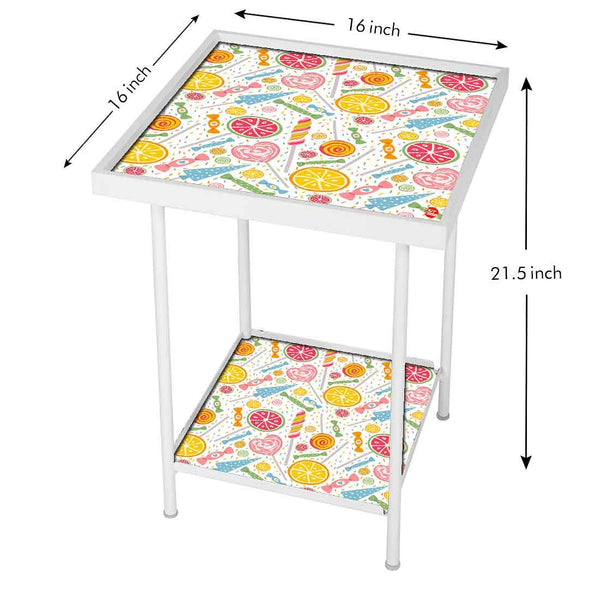 Square Metal End Table -  Colorful Candy