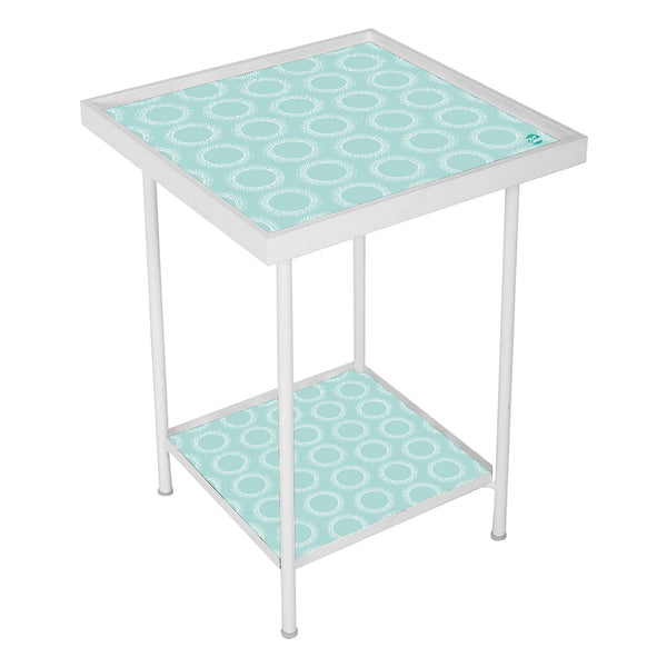 Metal Outdoor Side Table  -  Green Pattern Circle