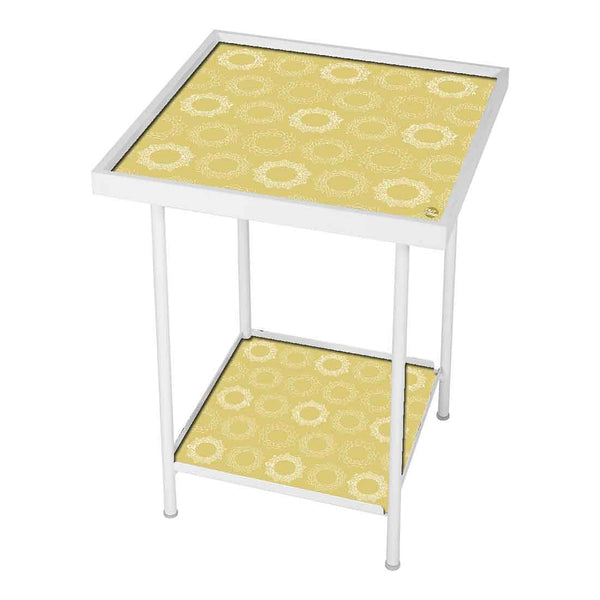 Metal White Side Table -  Beautiful Designer Pattern