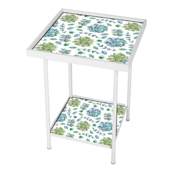 Garden Metal Outdoor Table  -  Blue And Green Flower