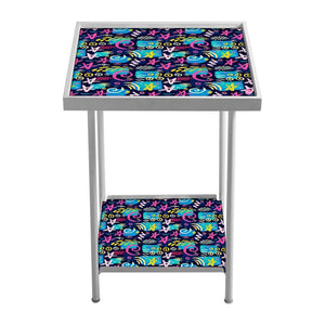 Outdoor Metal Patio Table - Multicolor Trendy Pattern