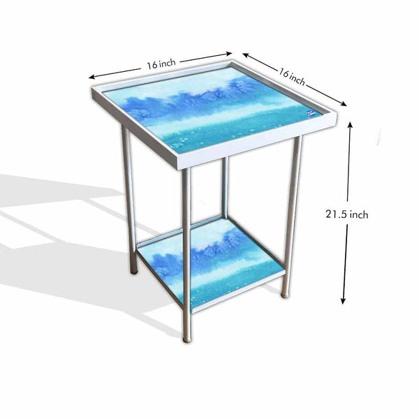 Waterproof Metal Outdoor Table - Arctic Space Sky Blue Watercolor