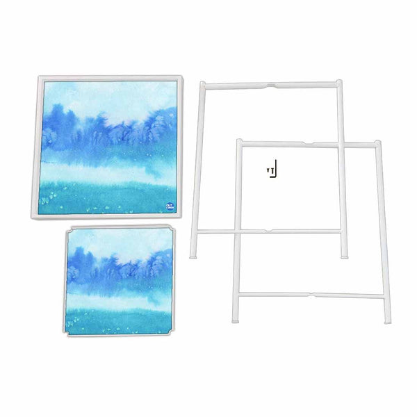 Balcony Table For Terrace Patio Deck - Arctic Space Sky Blue Watercolor
