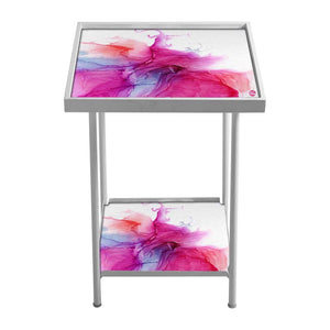 Outdoor Metal Patio Table - Pink Multicolor Ink Watercolor