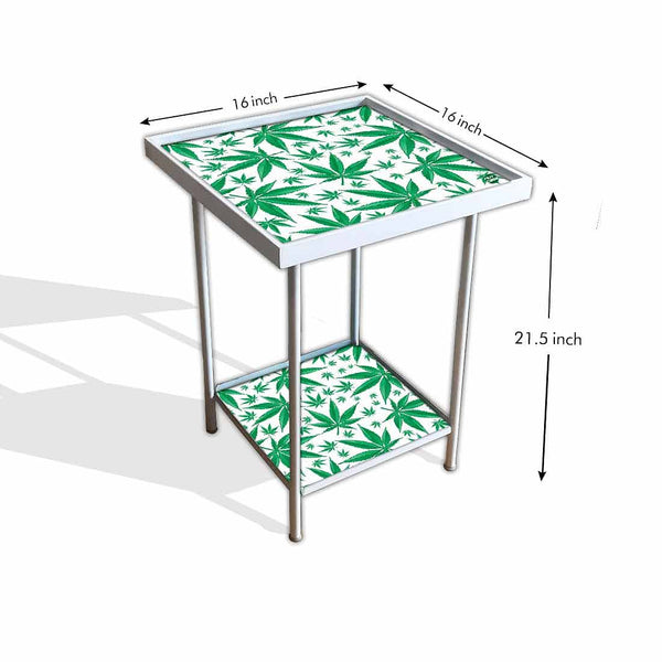 Designer Garden Metal Outdoor Table  - Green Leaves