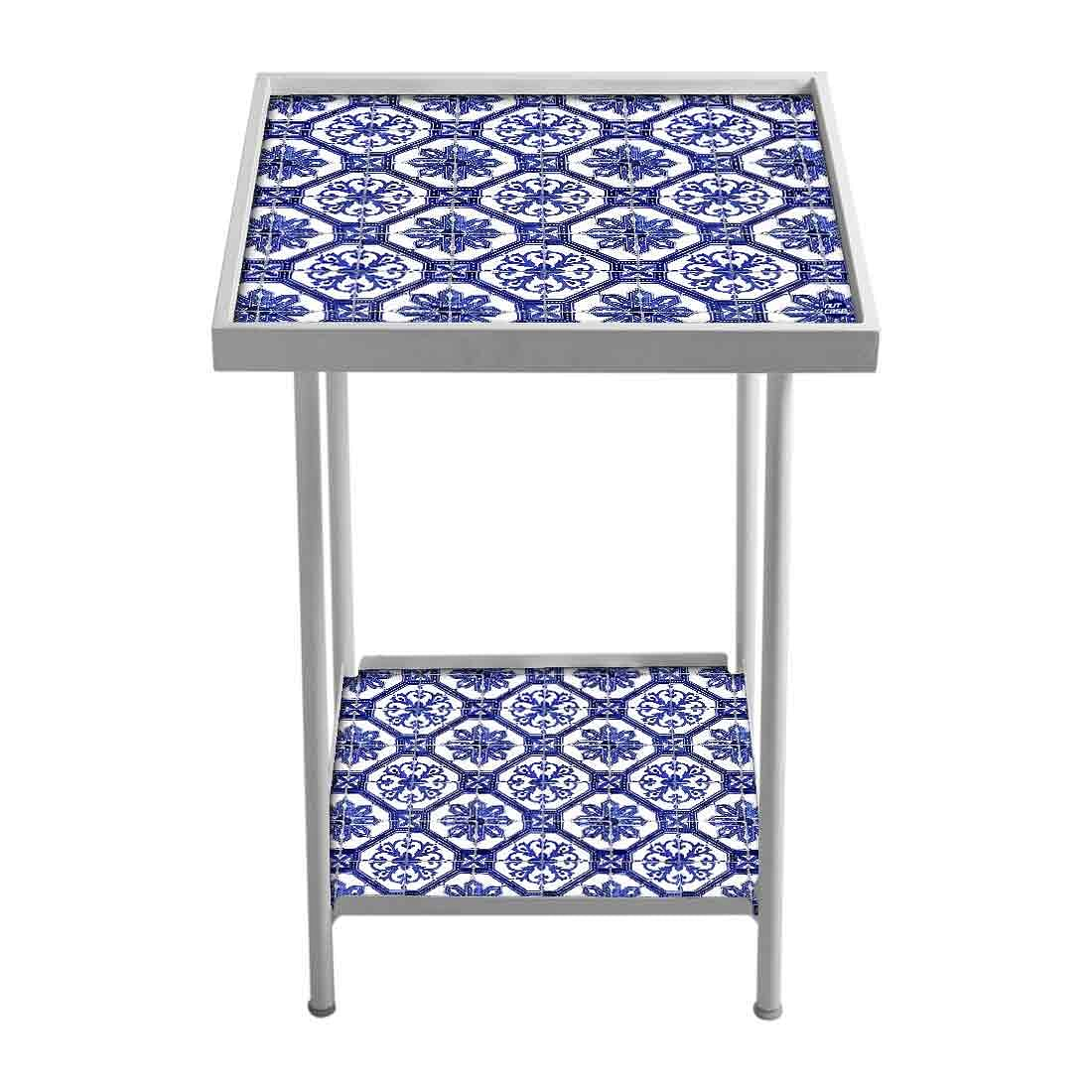 Designer White Metal Side Table