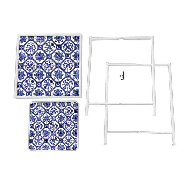 Balcony Table For Terrace Patio Deck - Floral Tiles Pattern