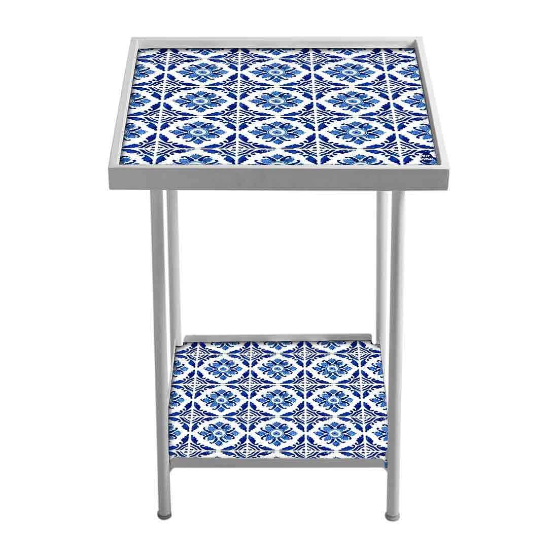 Designer Small Metal Side Table - Floral Art