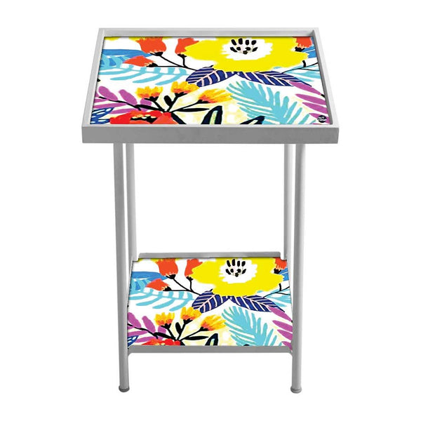 Floral Metal Side Table - Colorful Flowers
