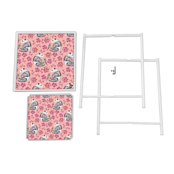Beside Table Outdoor Metal Patio Table -  Pink Floral Panda