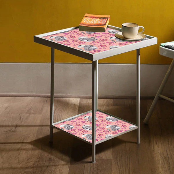 Pink Metal Side Table -  Pink Floral Panda