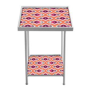 Side Table For Living Room Patio Table -Orange Pattern