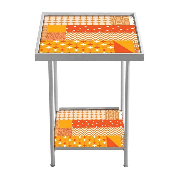 Patio Table For Balcony Outdoor - Yellow Pattern