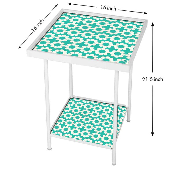 Designer Square Metal Side Table -  White Floral with Green Background
