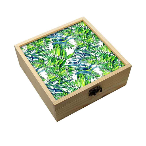 Jewellery Box Wooden Jewelry Organizer -  Green Leaf