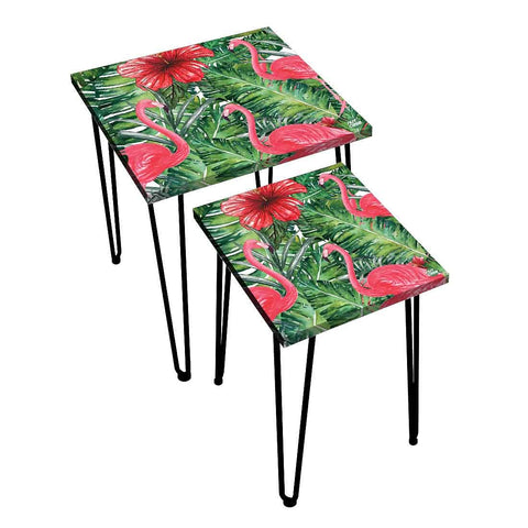 Nesting Tables Set Of 2 ,  Nest Of Tables For Living Room -   Flamingo  Hibiscus