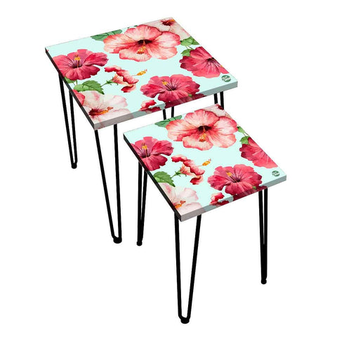 Nesting Tables Set Of 2 ,  Nest Of Tables For Living Room -   Red  Hibiscus