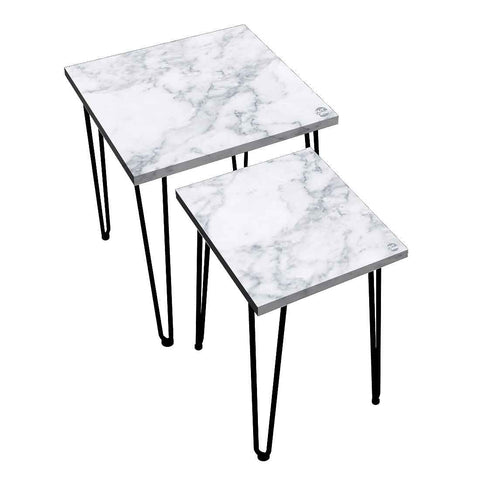 Nesting Tables Set Of 2 ,  Nest Of Tables For Living Room -(NOT REAL MARBLE) - White Marble