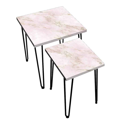 Nesting Tables Set Of 2 ,  Nest Of Tables For Living Room -(NOT REAL MARBLE) - Pink Marble
